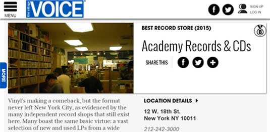 Best Record Store in NYC 2015- Village Voice